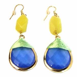Gold-Tone Blue Stone Drop Earrings